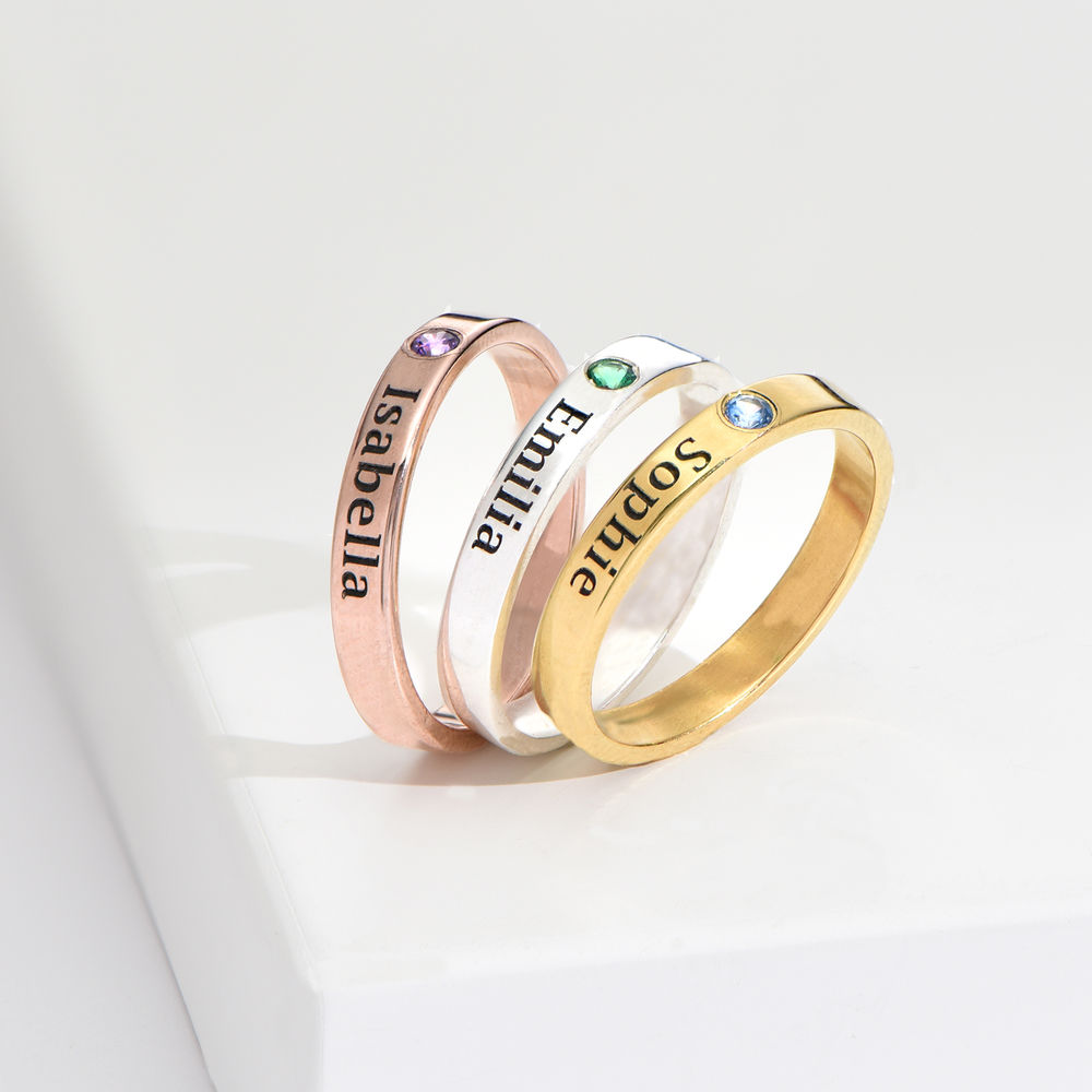 Stackable Birthstone Name Ring - 14K Yellow Gold - 4