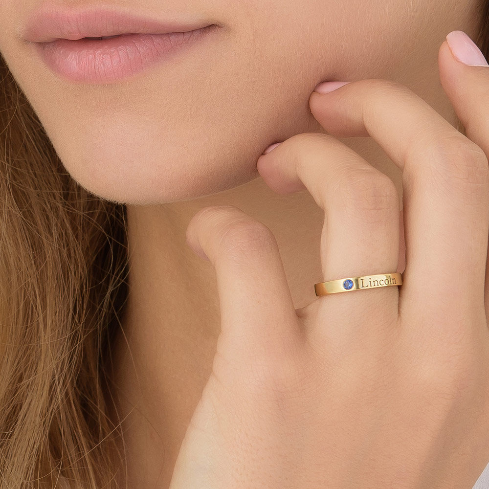 Stackable Birthstone Name Ring - 14K Yellow Gold - 7