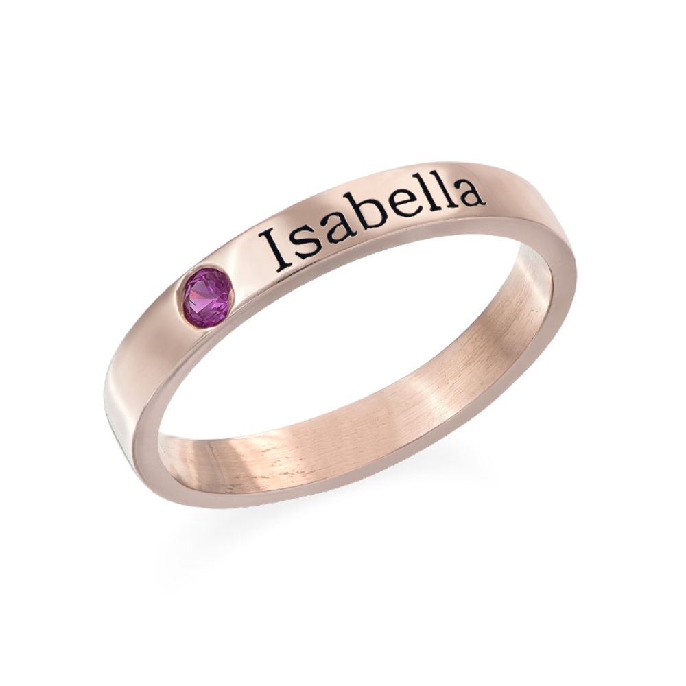 Stackable Birthstone Name Ring - 18k Rose Gold Plated