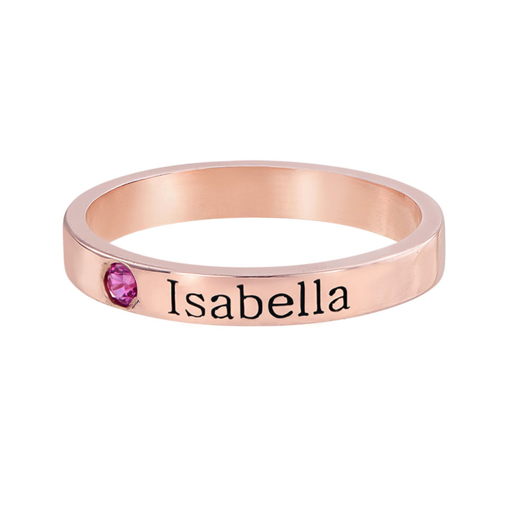 Stackable Birthstone Name Ring - 18k Rose Gold Plated - 1