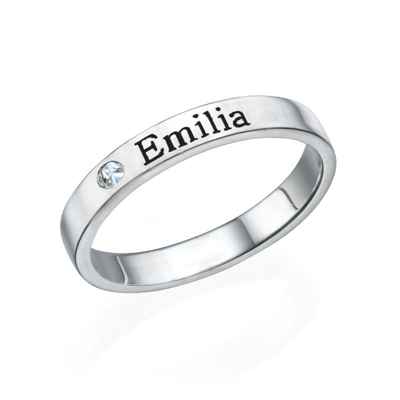 Stackable Name Ring in Sterling Silver with Diamond