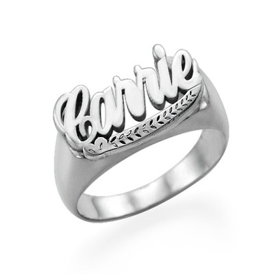 Silver Carrie Name Ring