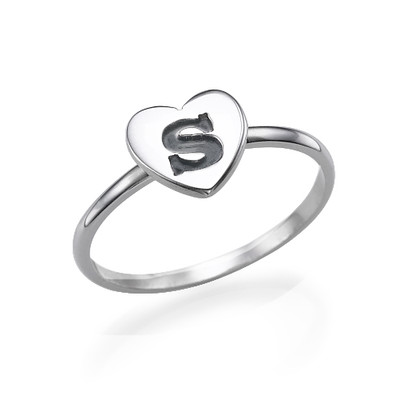 Sterling Silver Heart Initial Ring
