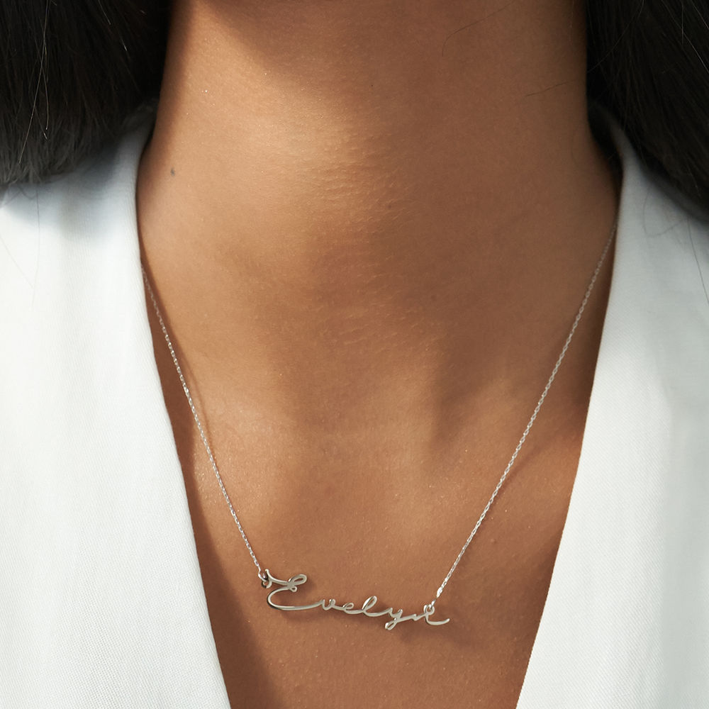 Signature Style Name Necklace - White Gold - 1