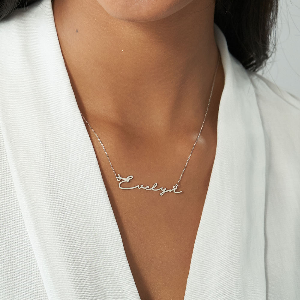 Signature Style Name Necklace - White Gold - 2