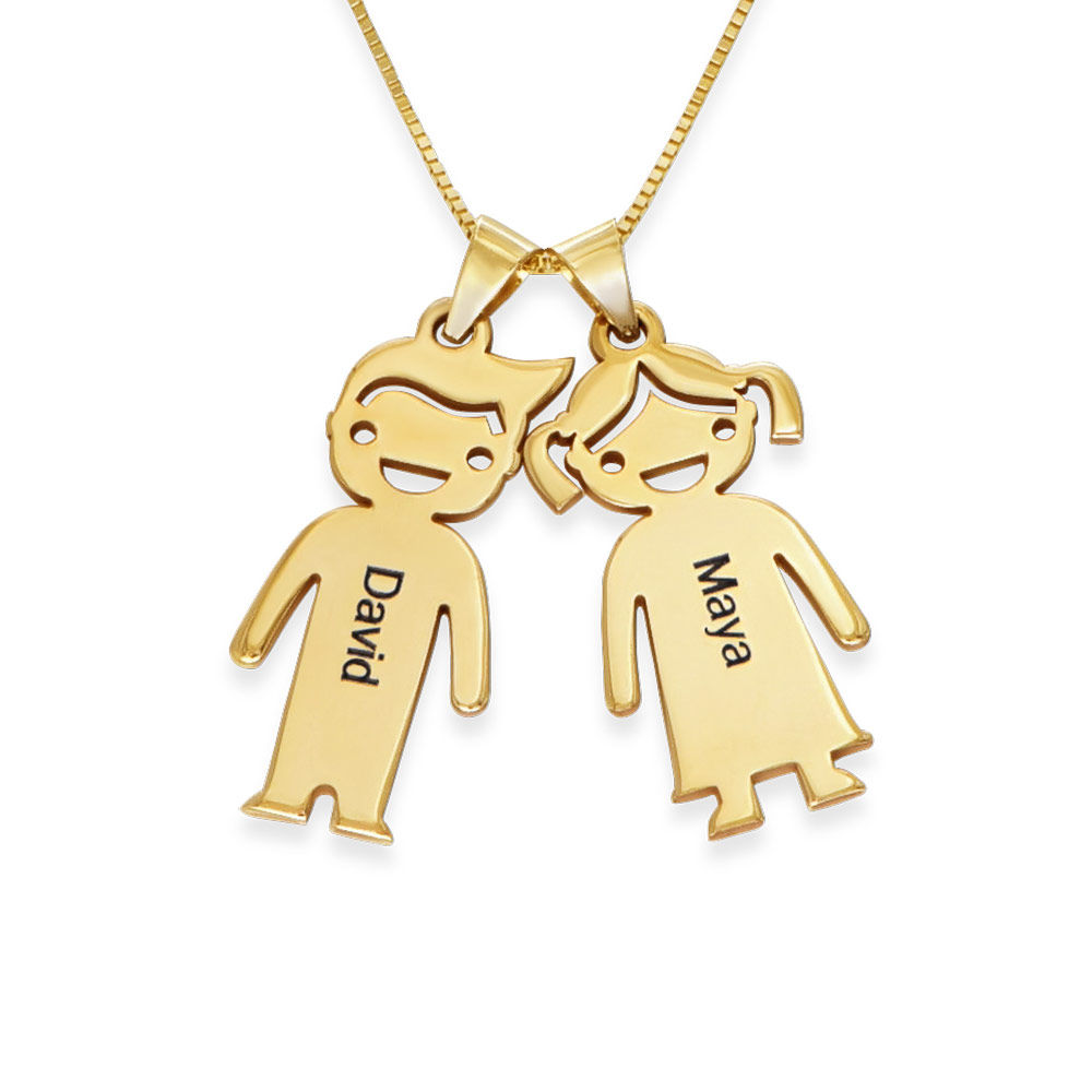 Mother's Necklace with Children Charms in 10K Yellow Gold