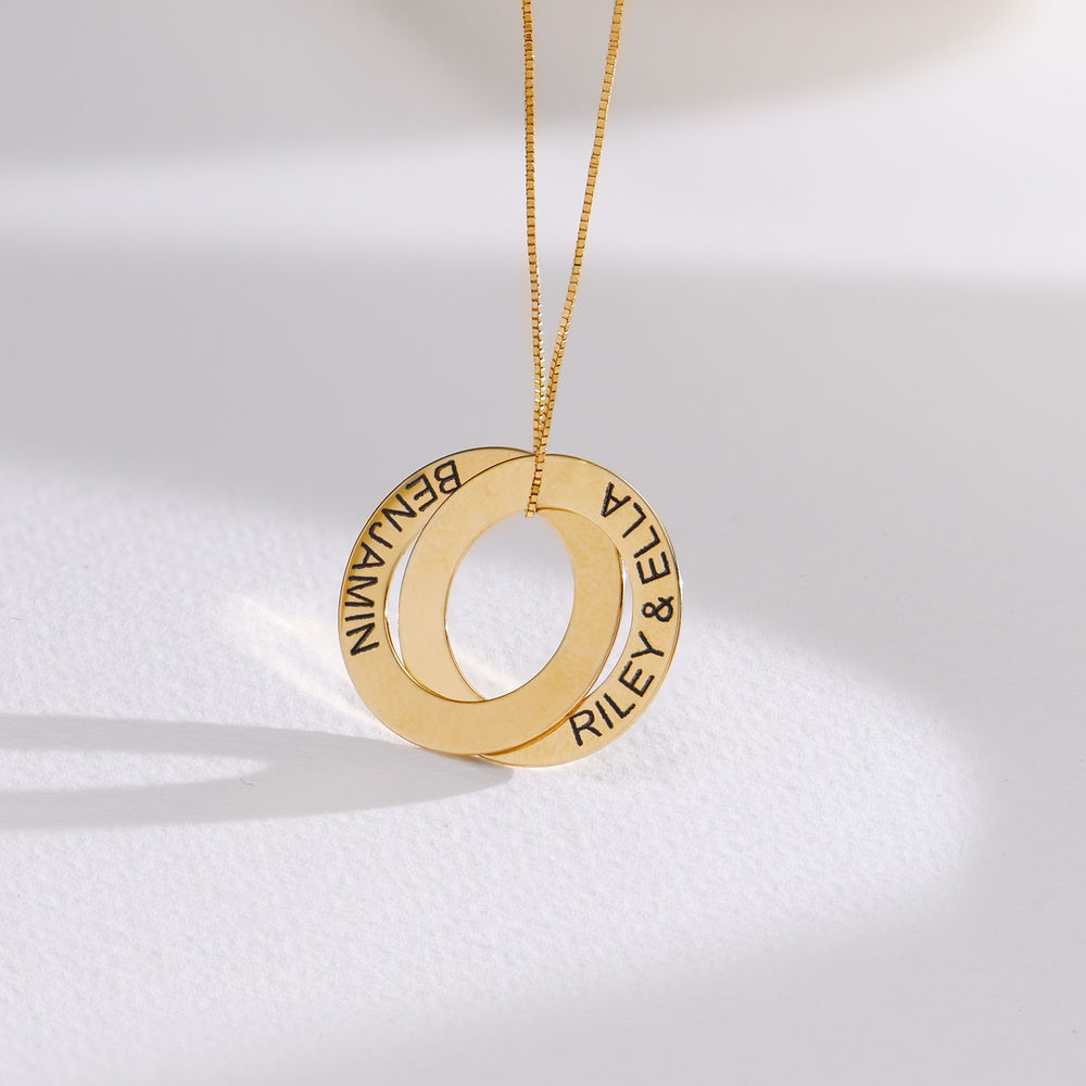Russian Ring Necklace with 2 Rings in 10K Yellow Gold - 1