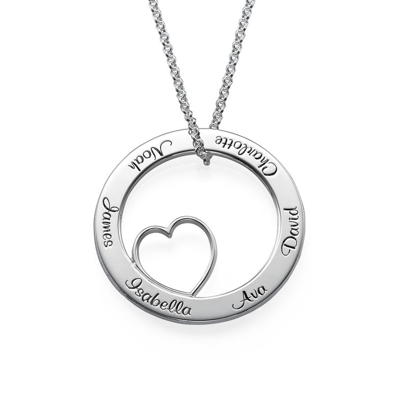 Family Love Circle Pendant Necklace - Sterling Silver