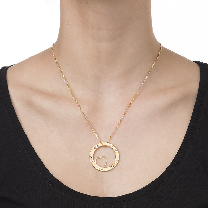 Family Love Circle Pendant Necklace - 18k Gold Plating - 1