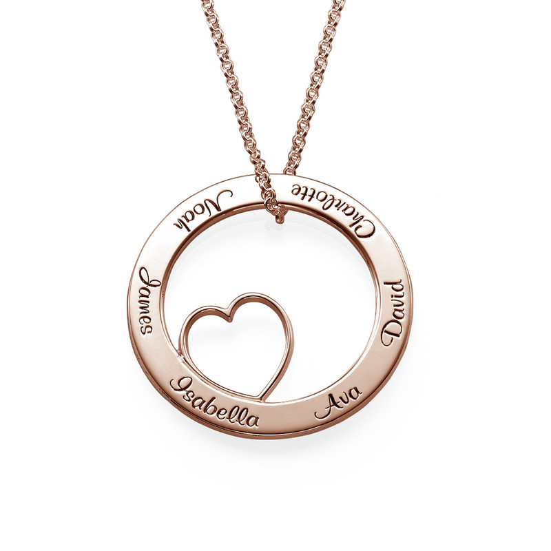 Family Love Circle Pendant Necklace - 18k Rose Gold Plating