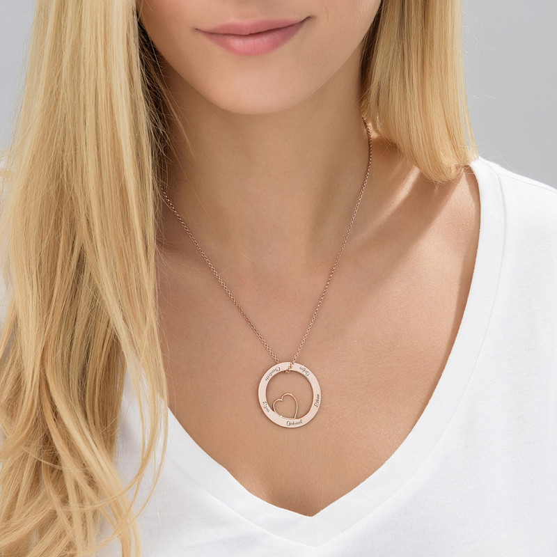 Family Love Circle Pendant Necklace - 18k Rose Gold Plating - 1