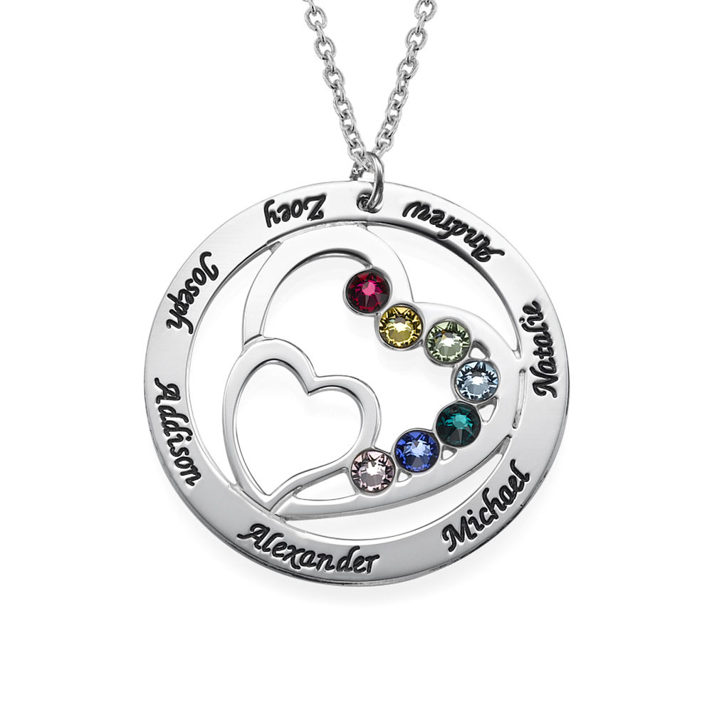 Heart in Heart Birthstone Necklace for Moms - Sterling Silver