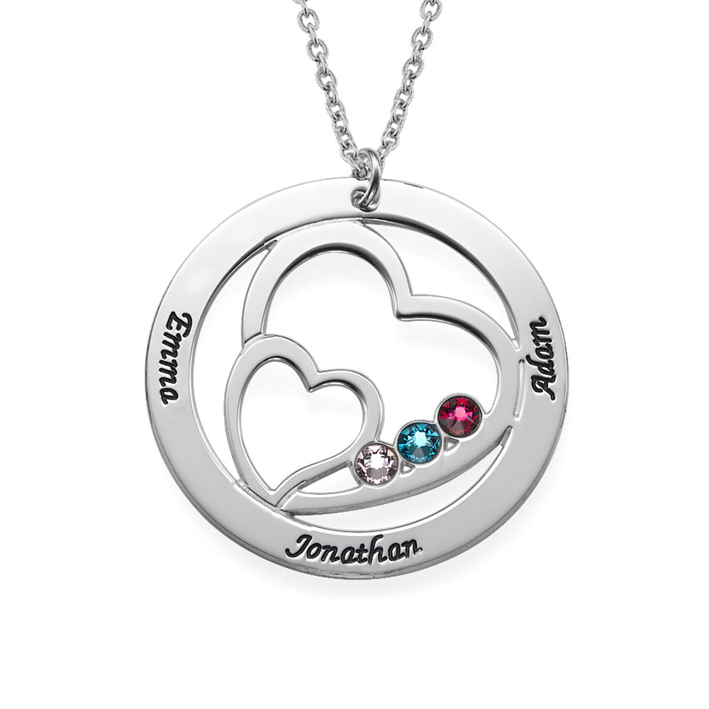 Heart in Heart Birthstone Necklace for Moms - Sterling Silver - 1