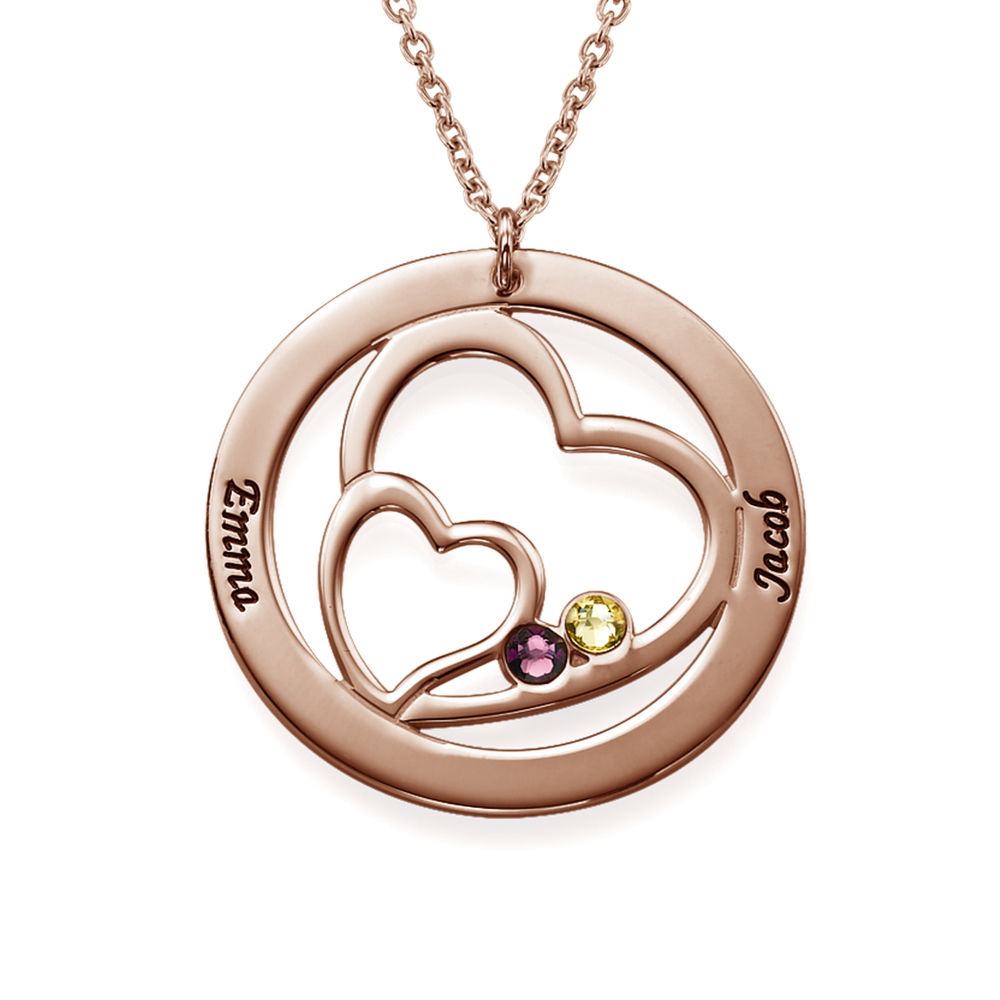 Heart in Heart Birthstone Necklace for Moms  - Rose Gold Plating - 1