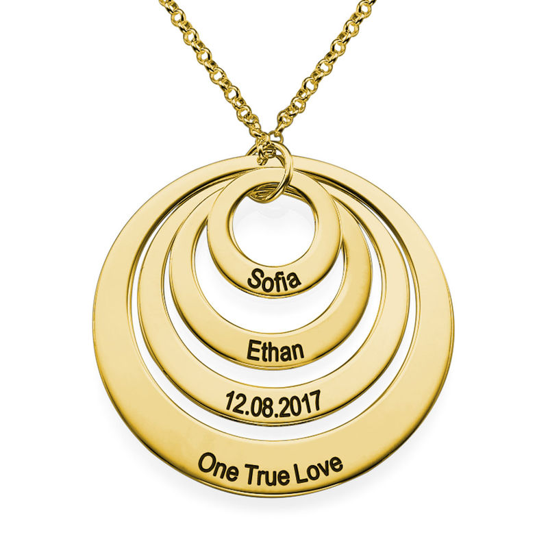 Four Open Circles Necklace with Engraving in Gold Plating - 1