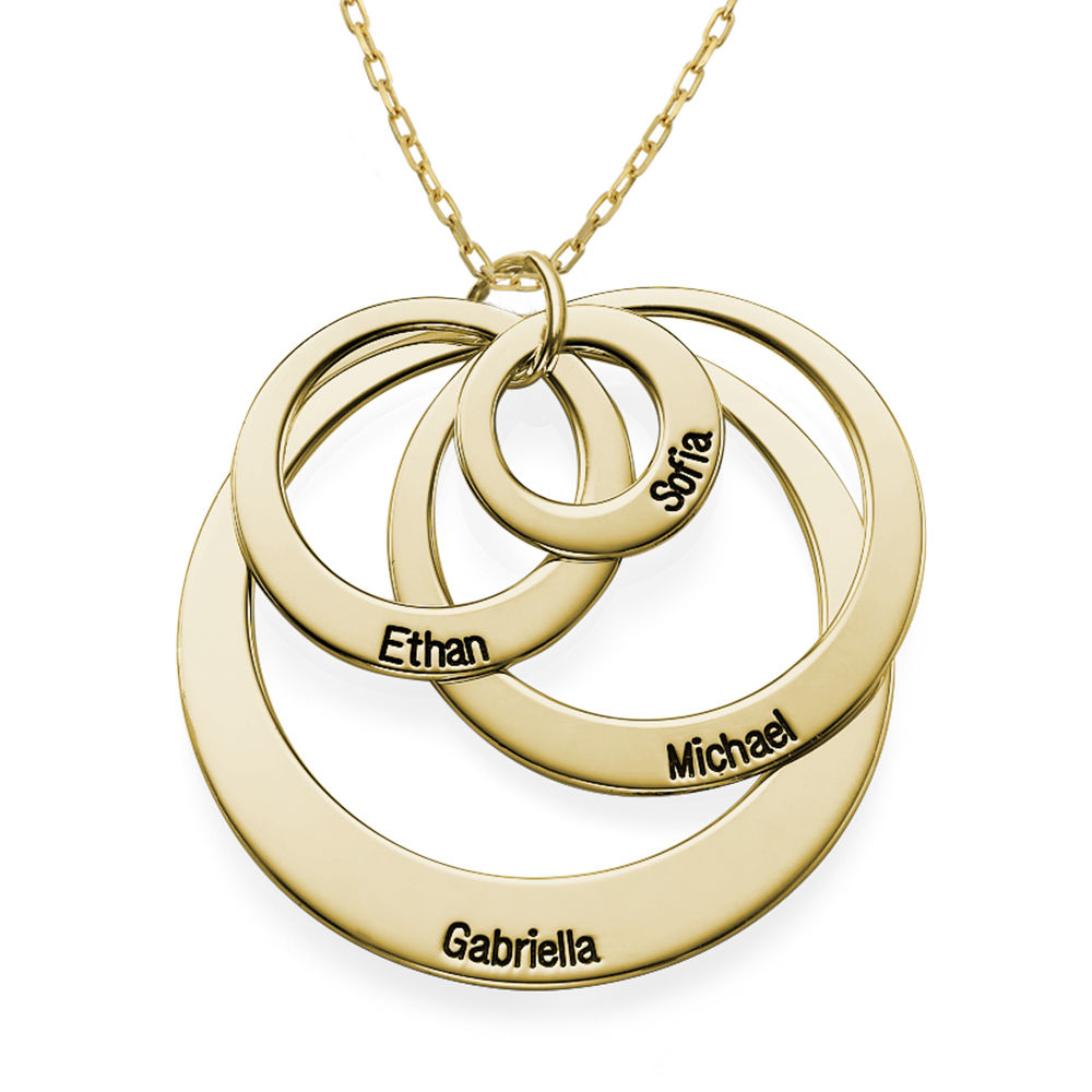 Four Open Circles Necklace with Engraving in 10K Yellow Gold - 1