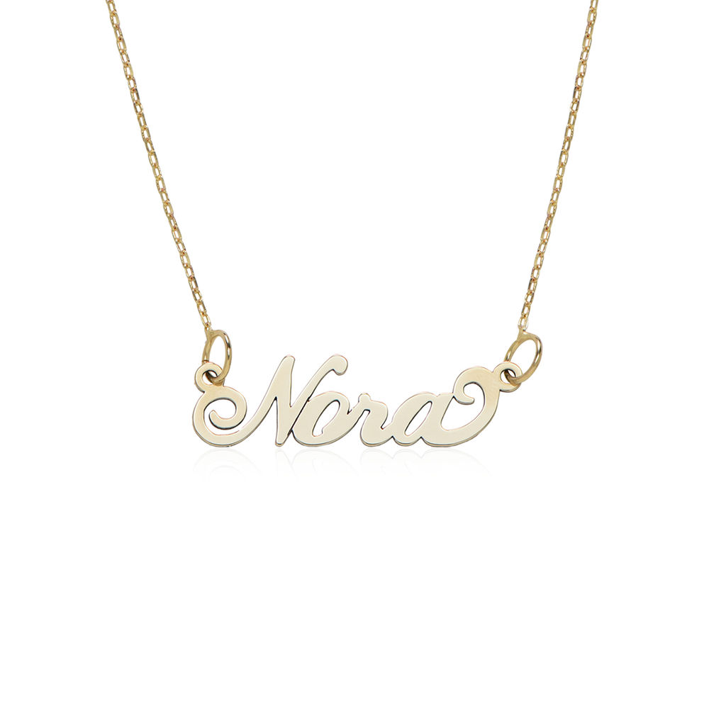 Small 10K Yellow Gold Carrie Style Name Necklace