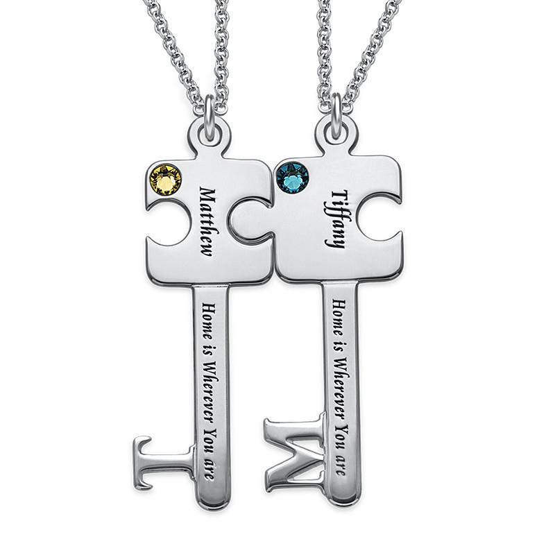 Personalized Puzzle Key Necklace Set