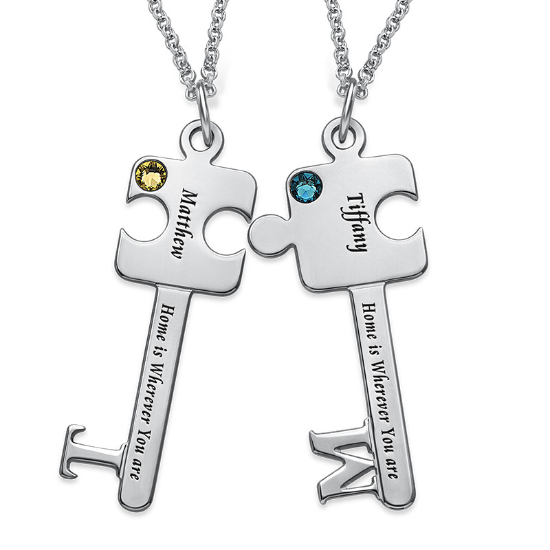 Personalized Puzzle Key Necklace Set - 1