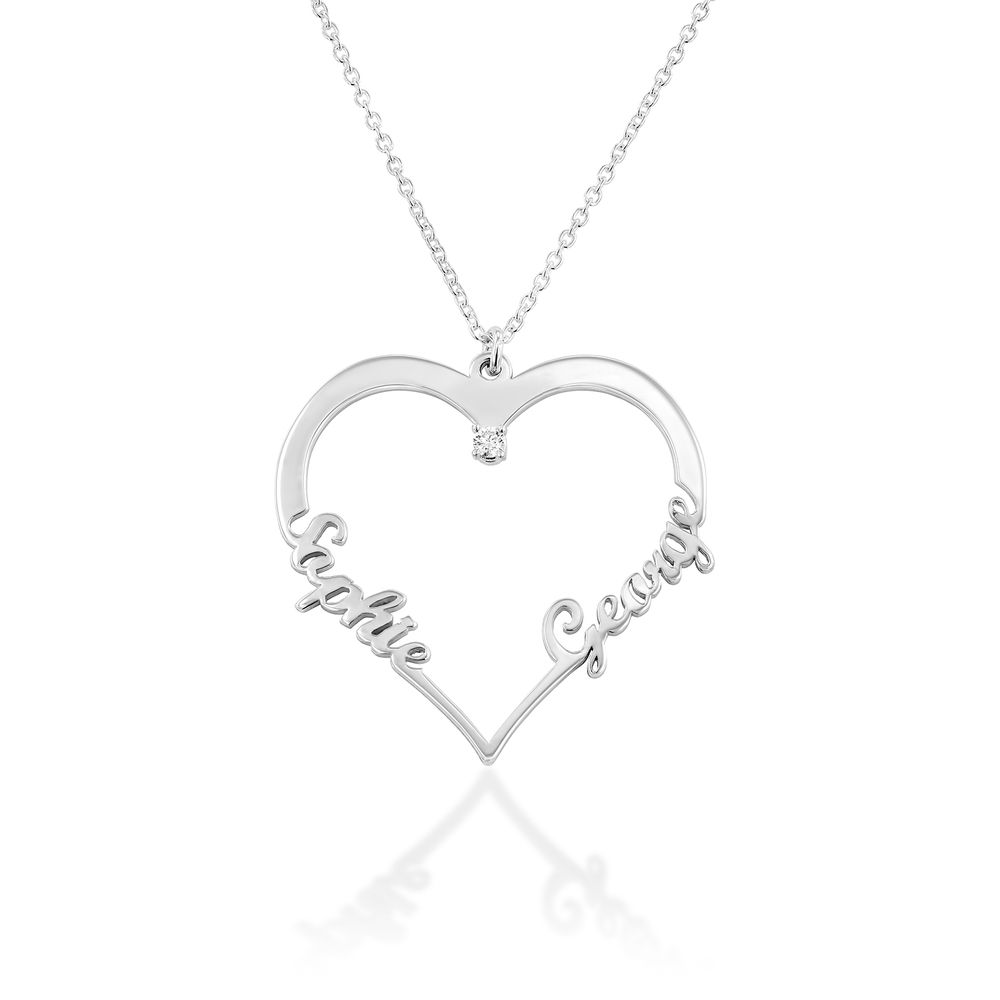 Heart Necklace in Sterling Silver with Diamond