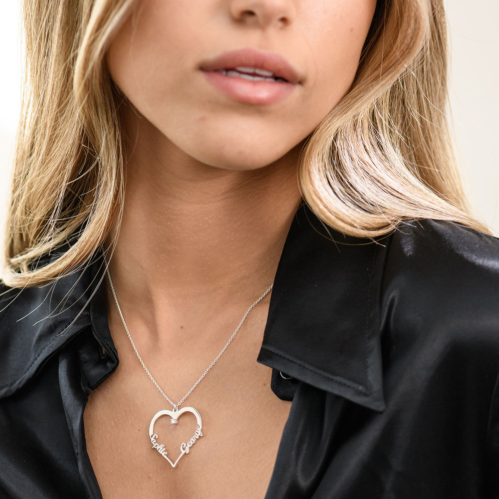 Heart Necklace in Sterling Silver with Diamond - 1