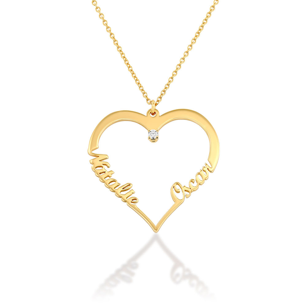 Heart Necklace in Gold Plating with Diamond