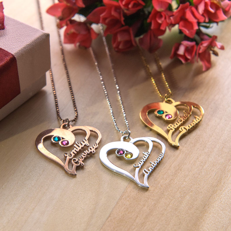 Two Hearts Forever One Necklace - Rose Gold Plated - 1