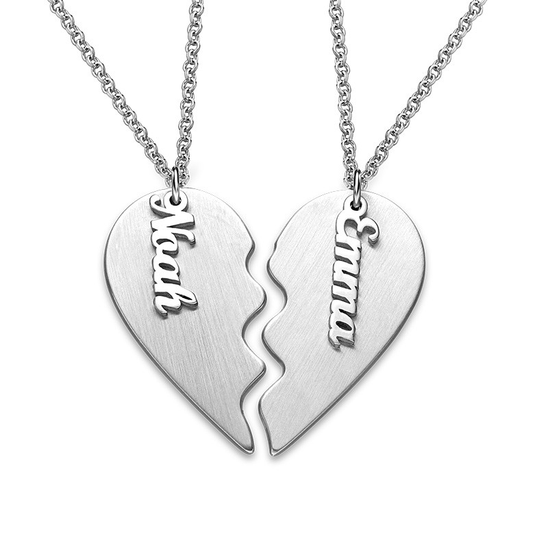 Engraved Couple Heart Necklace in Matte Silver