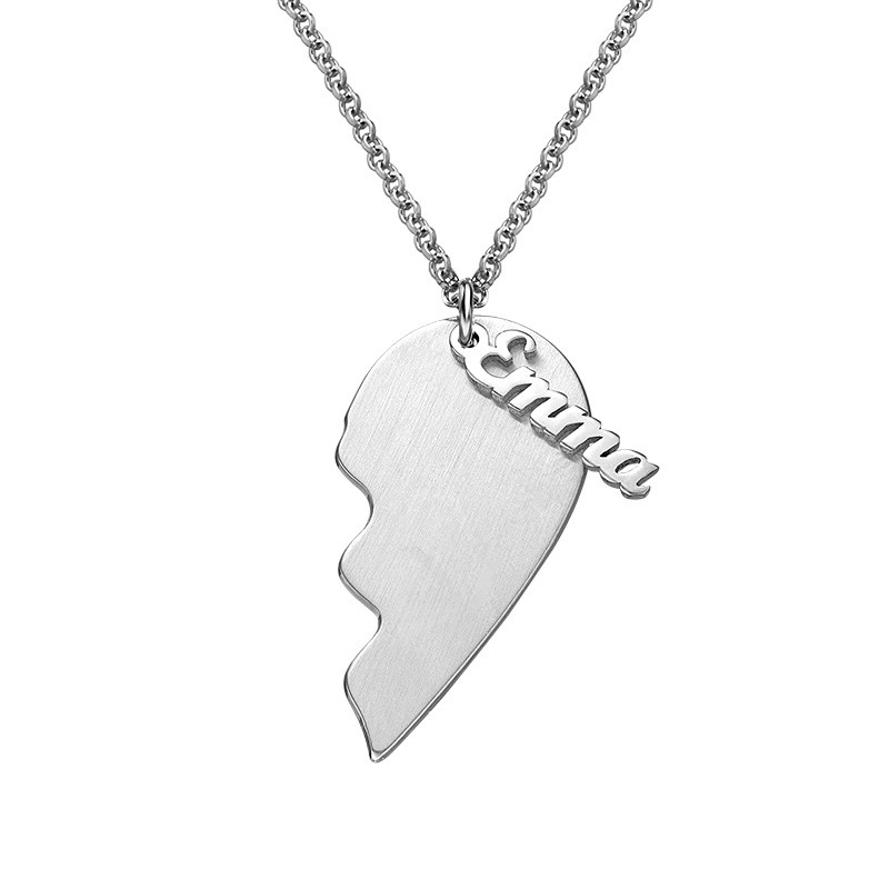 Engraved Couple Heart Necklace in Matte Silver - 1