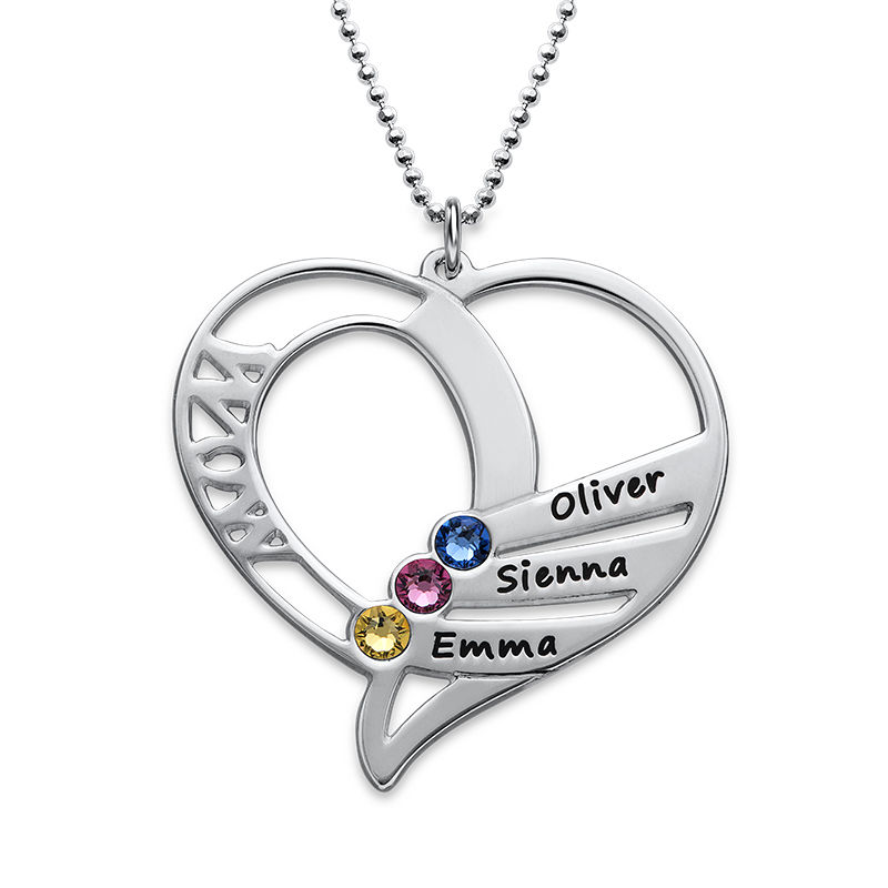Engraved Mom Birthstone Necklace - Sterling Silver - 1