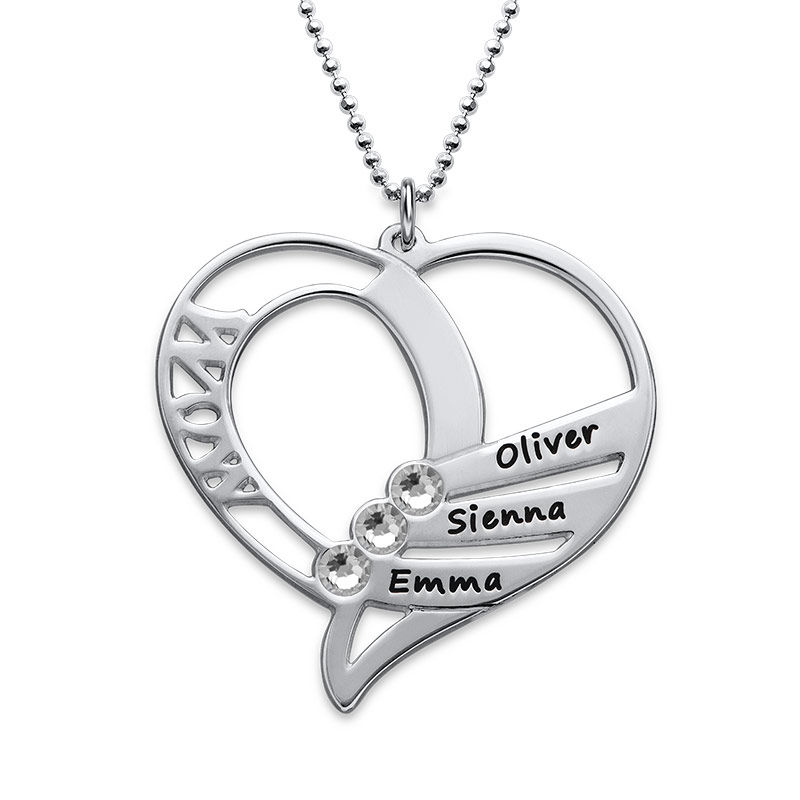 Engraved Mom Birthstone Necklace - Sterling Silver - 2