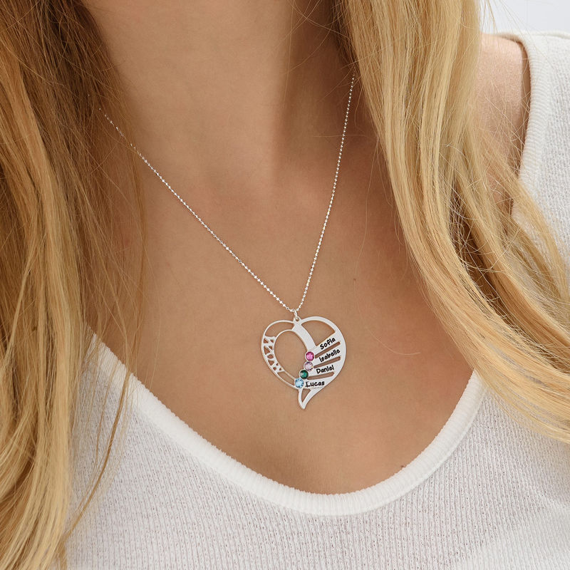 Engraved Mom Birthstone Necklace - Sterling Silver - 6
