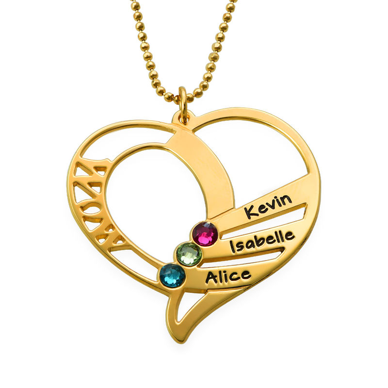 Engraved Mom Birthstone Necklace  - Gold Plated - 1