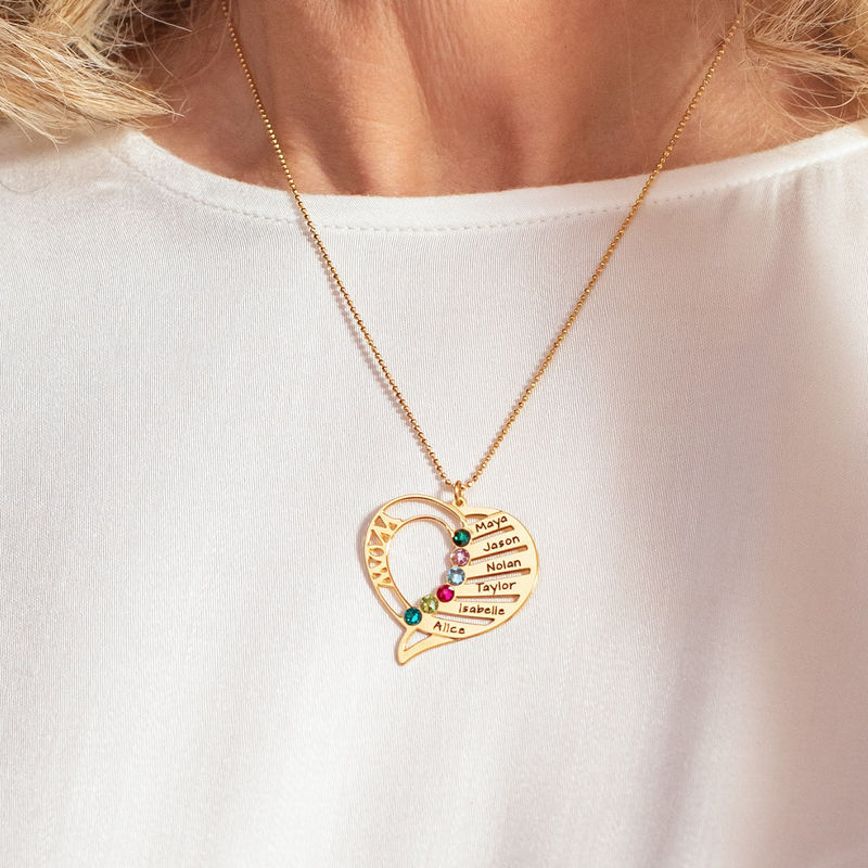 Engraved Mom Birthstone Necklace  - Gold Plated - 5