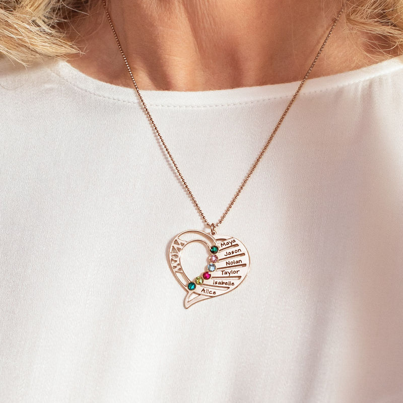 Engraved Mom Birthstone Necklace - Rose Gold Plated - 5