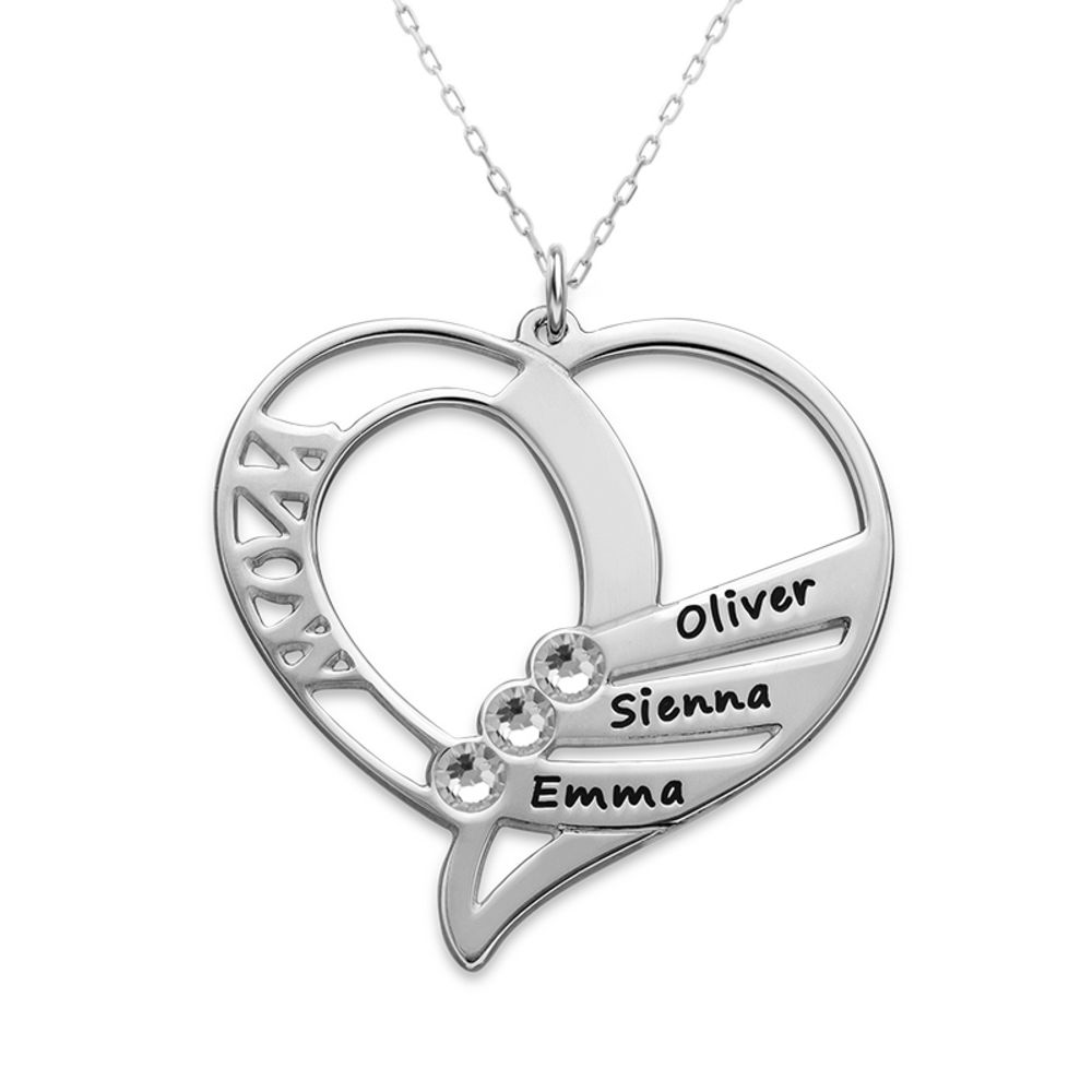 Engraved Mom Birthstone Necklace in 10K White Gold - 1
