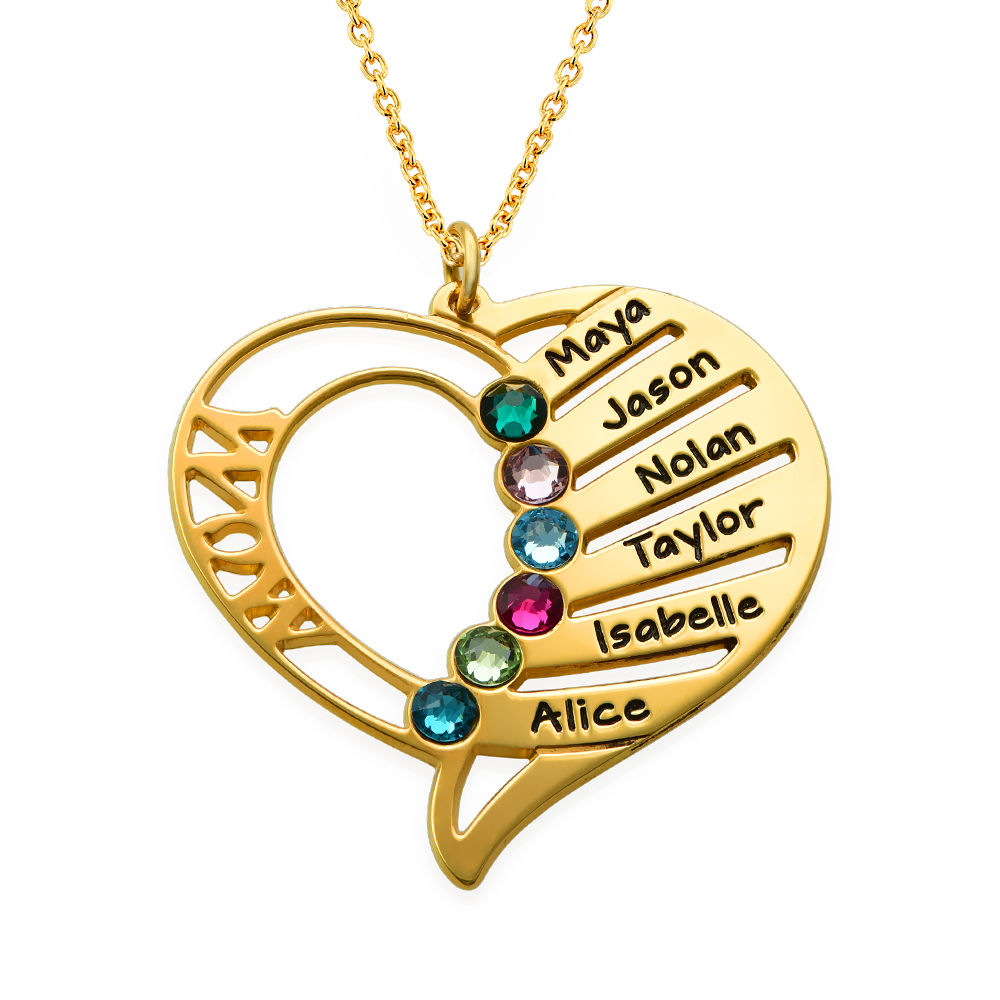 Engraved Mom Birthstone Necklace in Vermeil