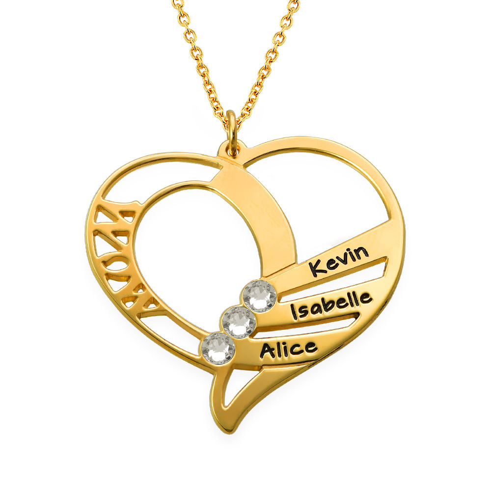Engraved Mom Birthstone Necklace in Vermeil - 2