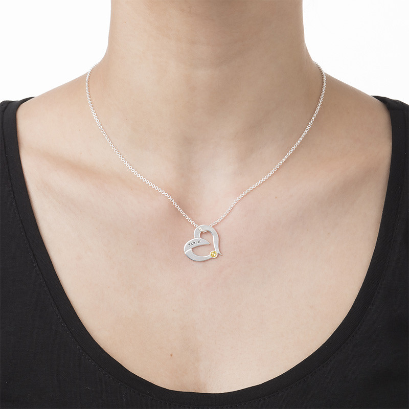 Birthstone Heart Necklace with Engraving - 1