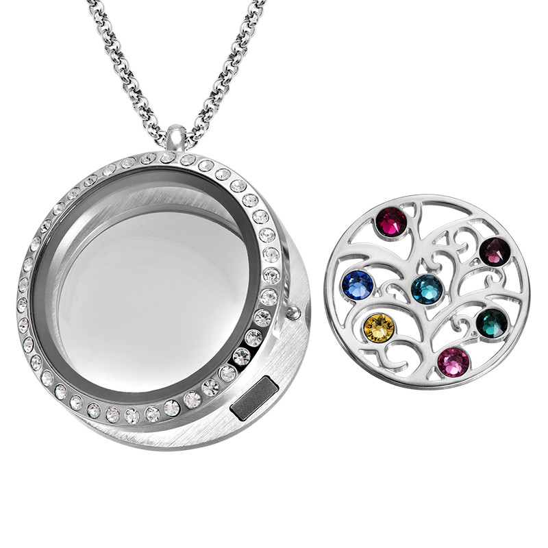 Family Tree Floating Locket with Birthstones - 1