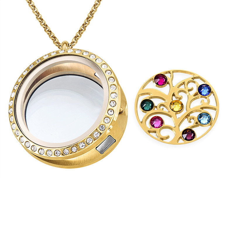 Family Tree Floating Locket with Birthstones - Gold Plated - 1