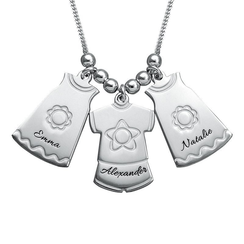Mother Necklace with Kids Outfits Charms