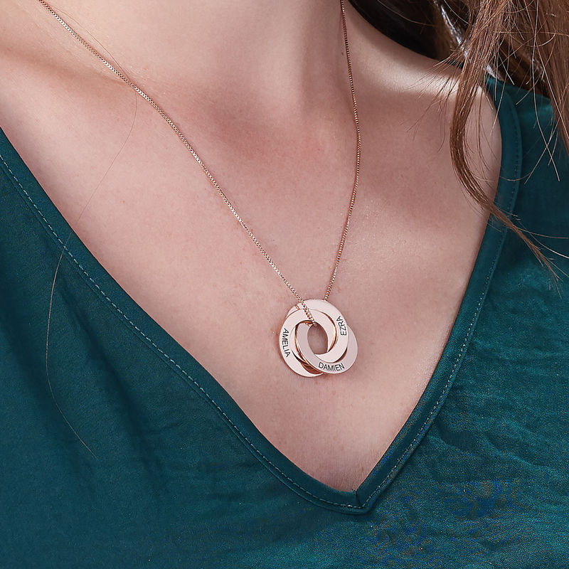 Russian Ring Necklace in Rose Gold Plating - 4
