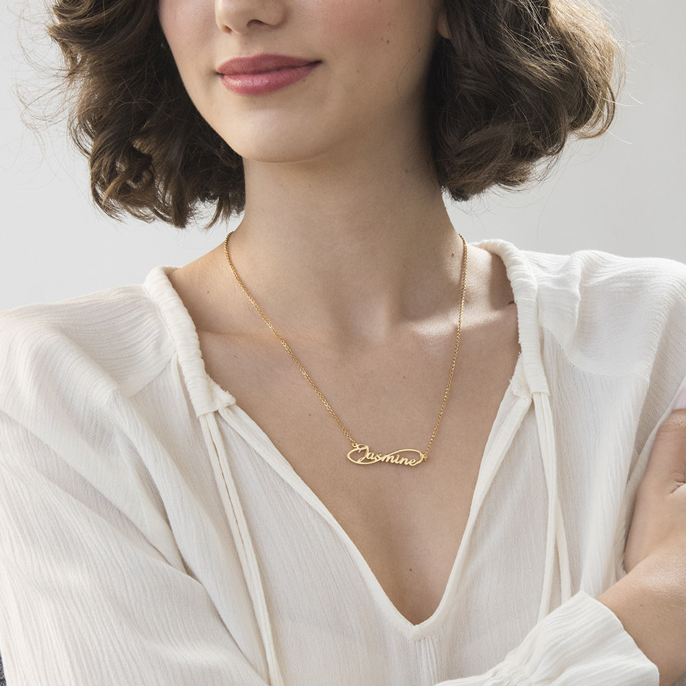 Infinity Style Name Necklace with Gold Plating - 1