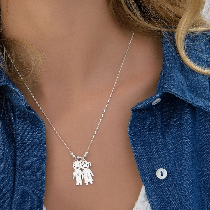 Sterling Silver Mother's Necklace with Engraved Children Charms - 5
