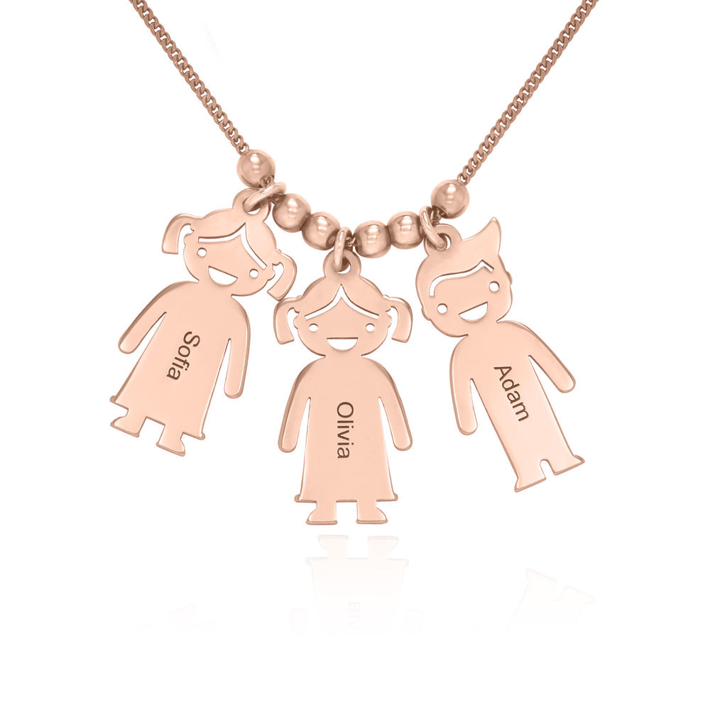 Mothers Necklace with Engraved Children Charms - Rose Gold Plated