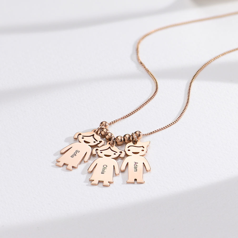 Mothers Necklace with Engraved Children Charms - Rose Gold Plated - 1