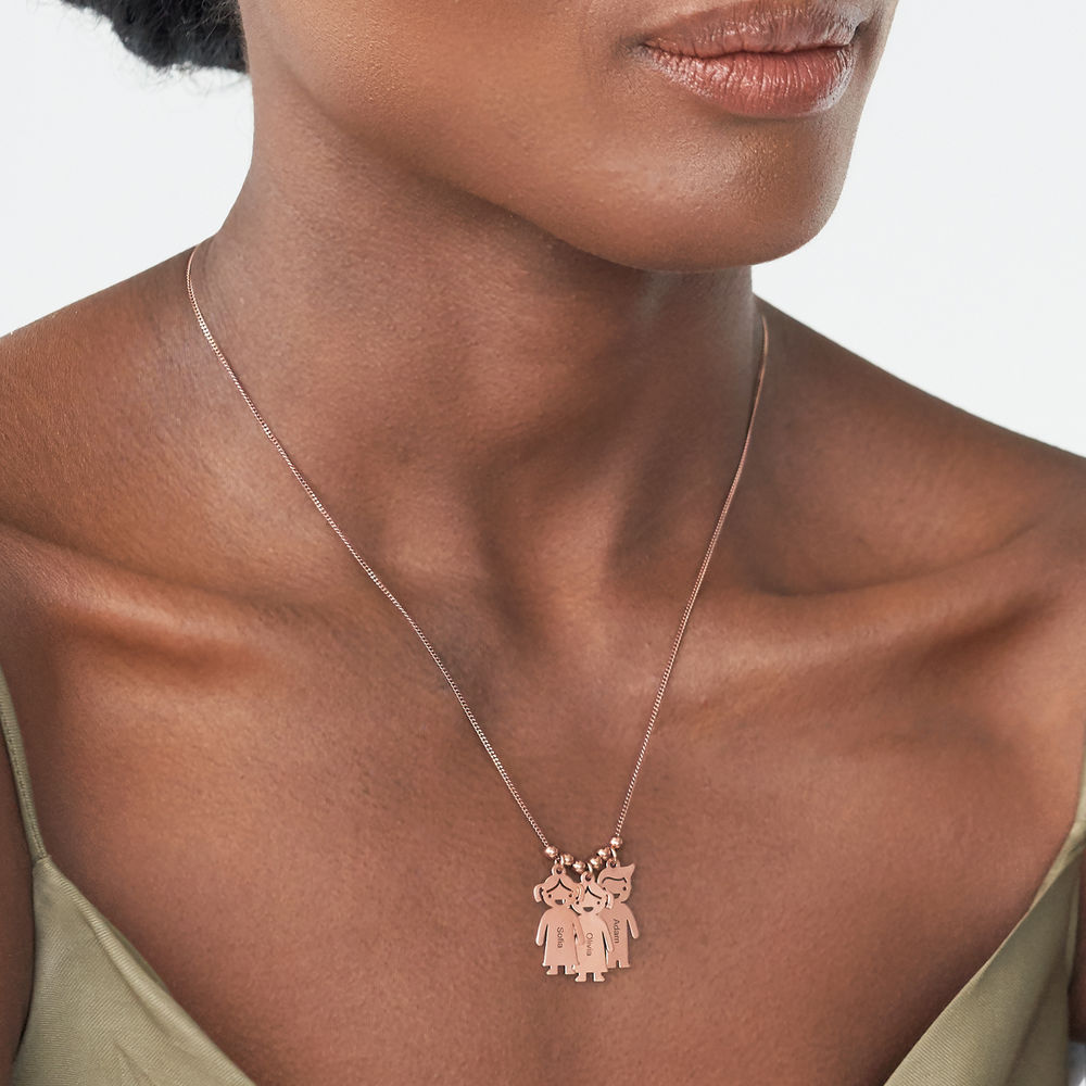 Mothers Necklace with Engraved Children Charms - Rose Gold Plated - 2