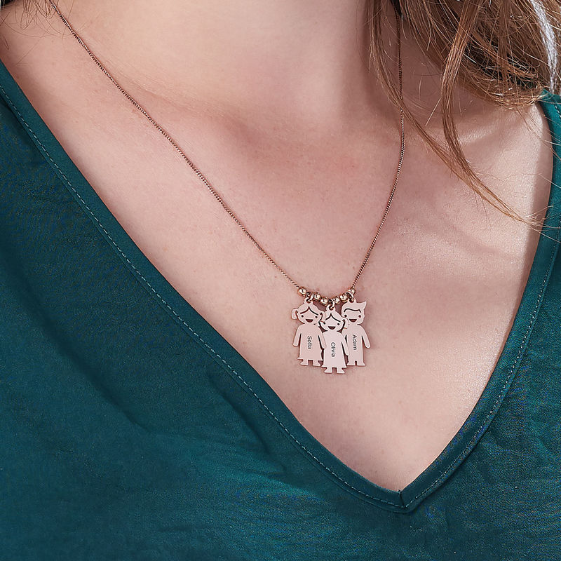 Mothers Necklace with Engraved Children Charms - Rose Gold Plated - 5