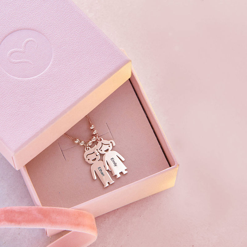 Mothers Necklace with Engraved Children Charms - Rose Gold Plated - 6